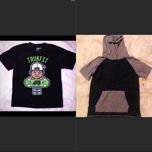 2 boys shirts 1 new hooded 1 gently used trukfit